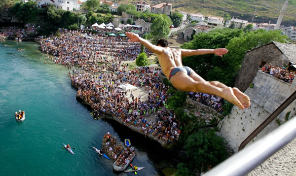 The Old Bridge 451st diving competition in Mostar